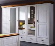 Schrank Kleiderschrank 5türig Spiegeltüren Schubladen Landhausstil Kiefer massiv