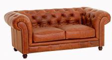Sofa Couch 2-sitzig Leder vintage cognac old england klassisch loses Sitzkissen