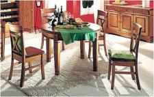 Tischgruppe Essgruppe Tisch rund mit vier Stühlen 5-tlg. Kiefer massiv patiniert