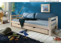 Einzelbett mit Lattenrost Kinderbett Bettschublade Schubkasten Kiefer massiv