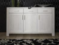 Sideboard Anrichte Wohnzimmer Kommode Eiche massiv geölt satin weiß