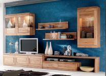 Wohnwand Wohnzimmer TV-Board Wandboard Vitrine Hängeschrank Wildeiche massiv