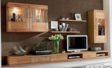 Wohnwand Wohnzimmer TV Lowboard Wandboard Vitrine Schrank Kernbuche massiv