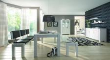 Wohnzimmer Esszimmer Wohnraum Kompletteinrichtung Eiche massiv geölt satin weiß