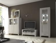Wohnwand Wohnzimmerwand TV-Board Vitrine Highboard Eiche massiv satin weiß