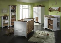 Babyzimmer Babybett Wickelkommode Schrank Regal Kiefer massiv weiß braun klassik
