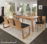 Tischgruppe Esszimmergruppe Esszimmer Tisch Stühle Bank Kernbuche massiv Leder