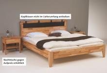 Bett mit Kopfteil Ehebett Überlänge Kernbuche massiv geölt