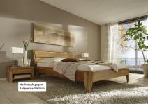 Bett Doppelbett massive rustikale Eiche Überlänge rustikal runde Beine
