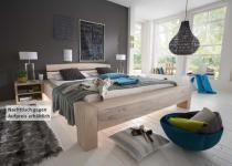 Bett Systembett massiv Eiche Balkeneiche white wash rustikal mit Wuchsrissen