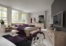 Schlafzimmer Kompletteinrichtung Bett Kommoden Eiche massiv rustikal White Wash
