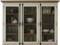 Aufsatz Vitrine Buffet Pinie Wildeiche massiv geölt antik weiß shabby vintage