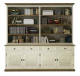 Buffet + Regaleinheit Bücherregal Pinie Wildeiche massiv geölt antik weiß shabby