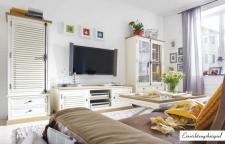 Wohnwand Wohnzimmer Set Pinie Wildeiche massiv antikweiß shabby amerikanisch