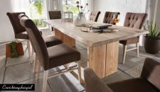 Esstisch Tisch Esszimmer massiv 160x90 cm Wildeiche Kernbuche Nussbaum Wuchsrisse