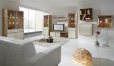 Wohnzimmer Set Kompletteinrichtung Wohnwände Kernbuche Lackfront weiß
