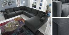 Ecksofa Sofa Couch Polstergruppe U Form dark grey Textilsofa Nosag Federung