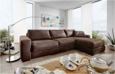 Leder-Eckgarnitur Sofa Couch Eckcouch Leder dunkelbraun Longchair Kontrastnaht