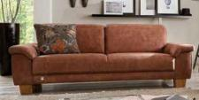 Couch Sofa 2,5 Sitzer Textilsofa Stoff braun Holzfüße Kaltschaumpolsterung