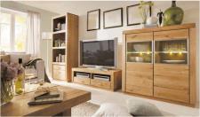 Wohnwand Wohnzimmerwand Set Asteiche massiv gebürstet geölt solitär
