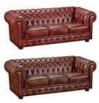 Sofa Couch Ledersofa 3-stizig Leder Wischleder vintage rot braun klassisch