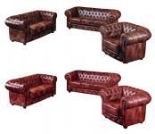Garnitur 3-tlg Sessel Sofa Leder Wischleder vintage rot braun klassisch englisch