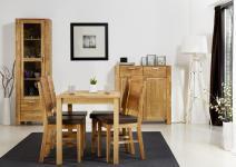 Esszimmer Set Einrichtung Eiche teilmassiv Tisch Stühle Vitrine Schrank Kommode