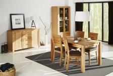 Esszimmer Set Einrichtung Eiche teilmassiv Tisch + 4 Stühle Schrank Sideboard