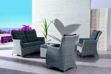 Loungemöbel Lounge-Set Loung Sofa Sessel Hocker Geflecht Rattanoptik Sitzpolster
