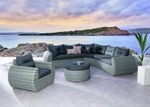 Loungeset Loungemöbel Lounge Garnitur Sofa Sessel Geflecht Aluminium grau