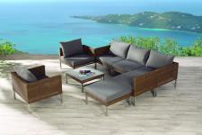 Loungegarnitur Lounge Set Ecksofa Geflecht wetterfest natur