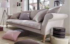 Sofa Couch 3-Sitzer lichtgrau Eiche romantisch reinigungsfähig ink. lose Kissen