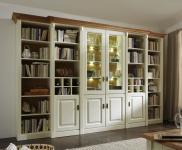 Wohnwand System Bibliothek Kiefer massiv Champagner weiss Wildeiche Massivholz