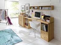 Schreibtisch System Arbeitszimmer Kernbuche massiv geölt selbst zusammenstellbar