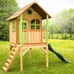 Spielhaus hoch Spielhütte Holzspielhaus Zeder TÜV geprüft sicher stabil Rutsche