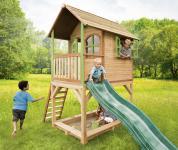 Spielhaus mit Rutsche Sandkasten Holzspielhütte hoch TÜV geprüft Garten Zeder
