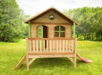 Spielhaus mit Rutsche Veranda Holzspielhütte Holzspielhaus Garten TÜV geprüft