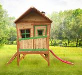 Spielhaus mit Rutsche Veranda Überdacht Holzspielhaus Hütte Hexenhäuschen Holz