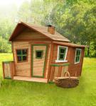 Spielhaus mit Terrasse Zaun Holzspielhütte für Kinder Garten Zeder TÜV geprüft
