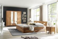 Schlafzimmer-Set Kompletteinrichtung Schrank Schubladenbett Kernbuche massiv