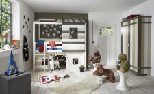 Kinderzimmer Set halbhohes Abenteuerbett Kleiderschrank Bett Kiefer massiv bunt