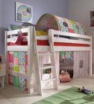 Kinderbett halbhohes Bett teilbar Textiltunnel Vorhang Kiefer massiv weiß Leiter