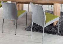 Stuhl Esstimmerstuhl Vierkant Edelstahl grau gelb Stoffbezug Stoff