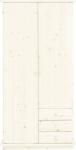 Kleiderschrank Schrank 2-trg. Kiefer massiv white wash Kinder - Jugendzimmer