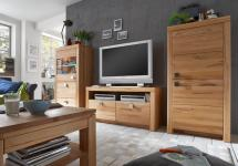 Wohnwand TV Wand komplett Set mit Couchtisch Kernbuche Wildeiche massiv geölt