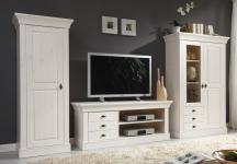 Wohnzimmer Wohnwand Vitrine Vitrinenschrank TV Kiefer massiv weiß gebeizt geölt
