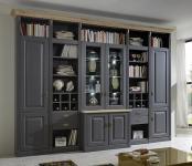 Wohnwand System Bibliothek Kiefer massiv basaltgrau grau Wildeiche individuell
