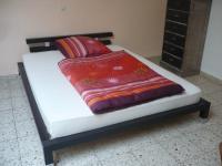 Futonbett Bett Einzelbett 160x200 mit Rosten und Matratze Komplettset schwarz