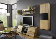 Wohnwand TV-Board Wandregal Hängeschrank Kernbuche massiv gewachst Set