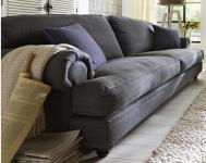 Sofa 3-sitzig 3 Sitzer Holzfüße kolonial Polstersofa Textilsofa Couch romantik